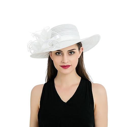 4def55b32f7 Dantiya Women s Organza Wide Brim Floral Ribbon Kentucky Derby Church Dress  Sun Hat