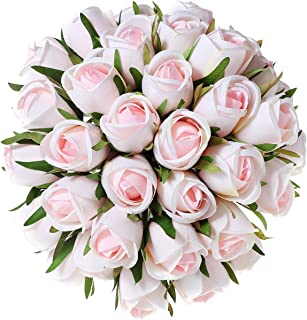 T4U 36 Heads Artificial Flowers Silk Faux Flowers Bouquet Fake Roses with Stems in Bulk for Flowers Arrangement Wedding Bouquet Table Centerpieces Home Garden Party Decoration (Pink,18pcs/Pack)