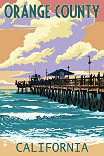 Orange County, California - Pier and Sunset (9x12 Art Print, Wall Decor Travel Poster)