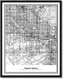 Susie Arts 11X14 Unframed Phoenix Arizona Metropolitan City View Abstract Street Map Art Print Poster Wall Decor V286