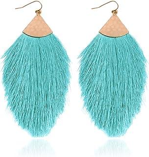 735b3b4d22895 RIAH FASHION Bohemian Silky Thread Tassel Statement Drop Earrings - Strand  Fringe Lightweight Feather Shape Dangles