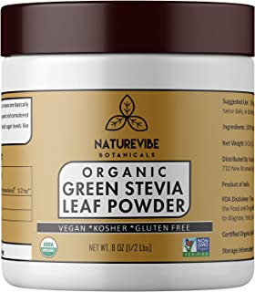 Organic Green Stevia Leaf Powder (1/2 lb) by Naturevibe Botanicals, Gluten-Free, Raw & Non-GMO (8 Ounces) [Packaging May Vary]