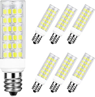DiCUNO E12 5W LED Bulb, 50W Halogen Equivalent Daylight White 6000K, T3/T4 Candelabra Base Non-dimmable 550LM Light Bulb for Ceiling Fan, Chandelier 6-Pack