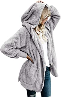 Womens Fuzzy Jacket Sherpa Coat Open Front Hooded Cardigan Outwear with Pockets
