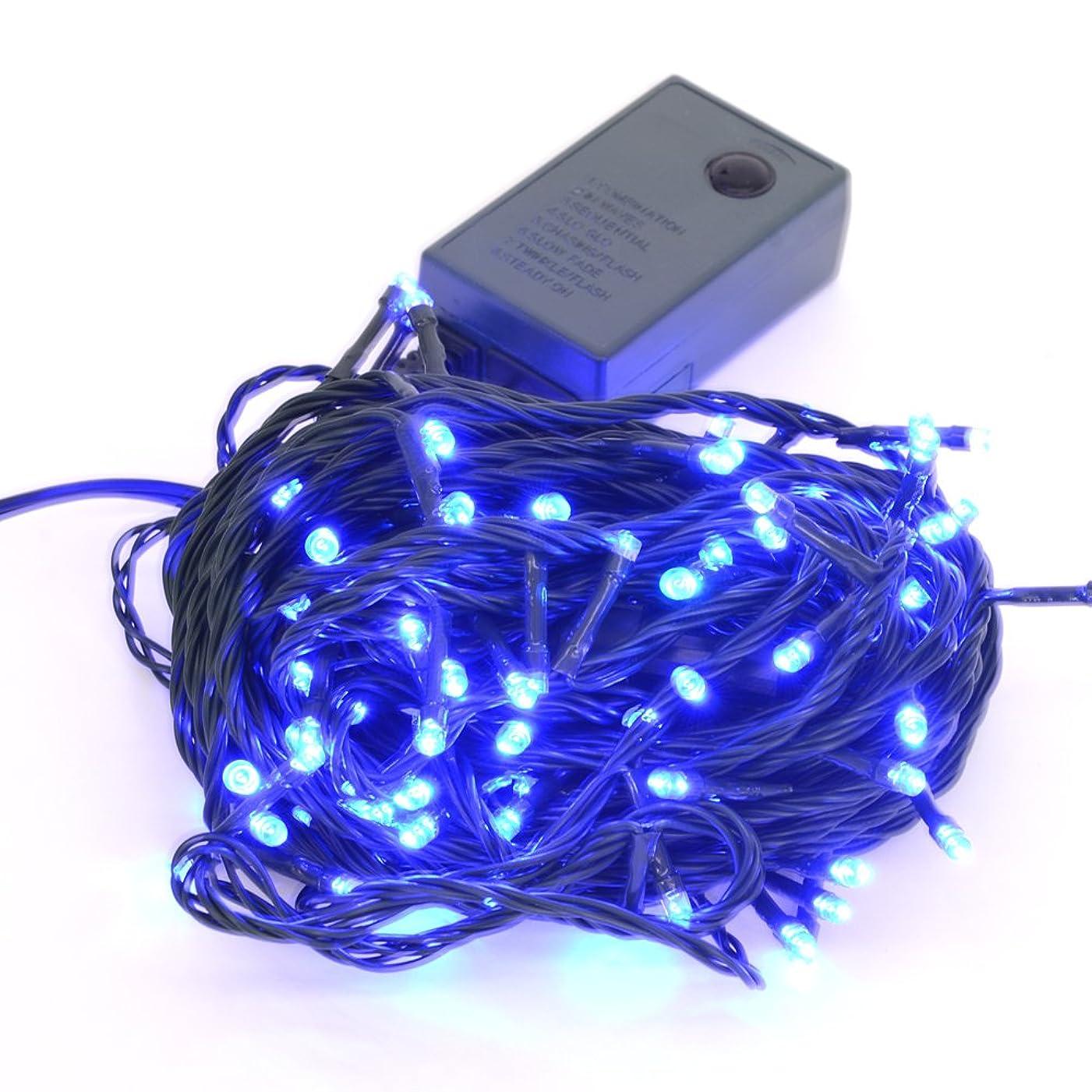 メモかりて卑しい【ブルー】イルミネーションLEDライト クリスマスライト 100球 点灯パターン記憶メモリー付 防雨仕様 連結可 8パターン点灯?コントローラ付