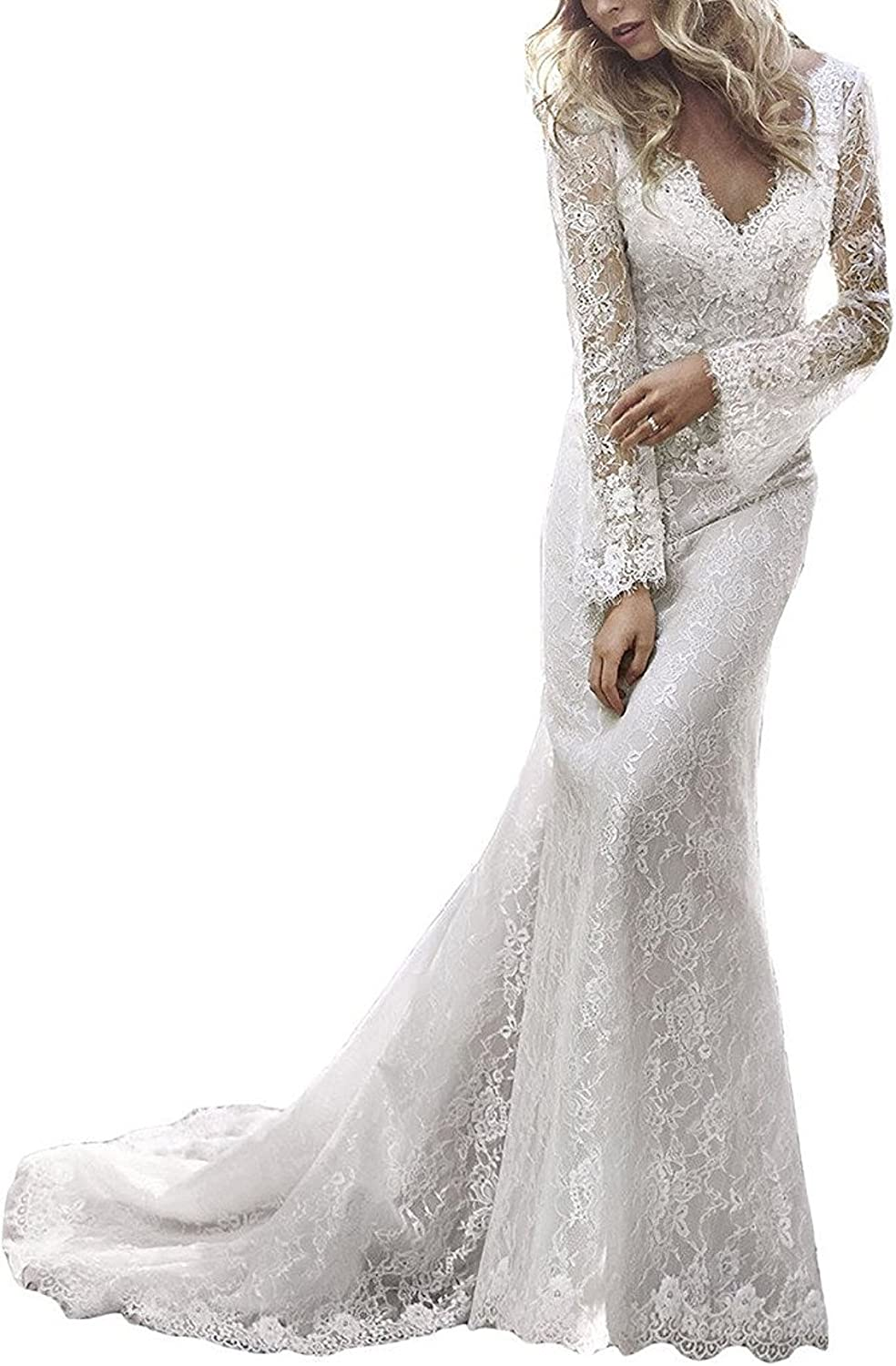 Weddinglee Wedding Dress Sexy Vintage Long Sleeve Lace Wedding Dresses for Bride Open Back 2017 Bridal Gowns