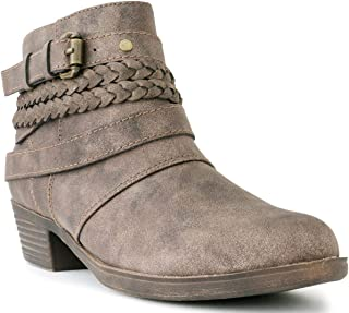 Sugar Women's Tabitha Triple Buckle Ankle Boot Ladies Side Zipper Bootie with Woven Wraparounds Studs and Overlay
