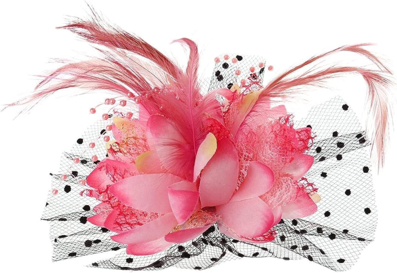 Women Bridal Mesh Feather Beads Wedding Fascinator Dot Veil Hair