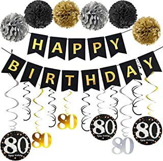 80th Birthday Party Decorations Kit, 80 Year Old Party Supplies Favors Décor for Women Men Gold Glitter Happy Birthday Banner Bunting Garland Poms Hanging Swirls for 80th Anniversary Decorations