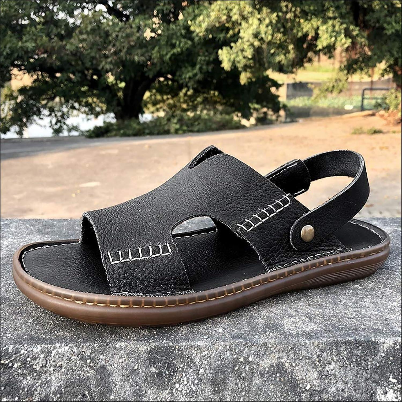 LQ Men's sandals flip flops Men's sandals and slippers, black breathable sandals, TPR adhesive shoes, suede leather beach shoes, flat heel (color   C)