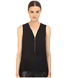 Tank Top in Silk and Jersey with a Zip Neckline