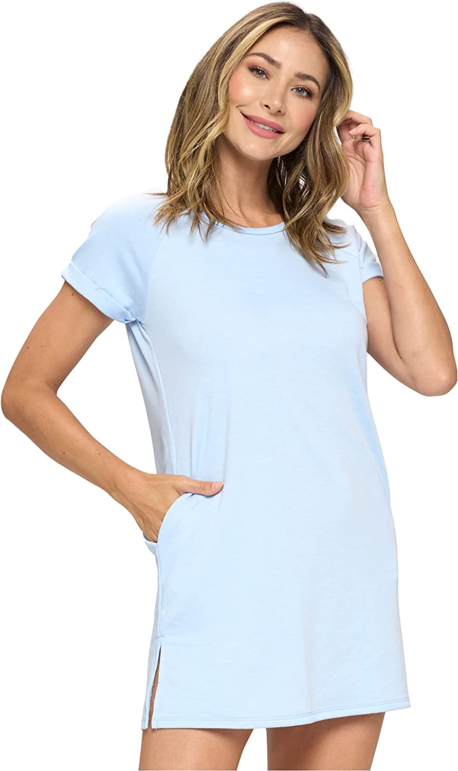 EVCR Women's Casual Coverup T-Shirt Dress with Pockets