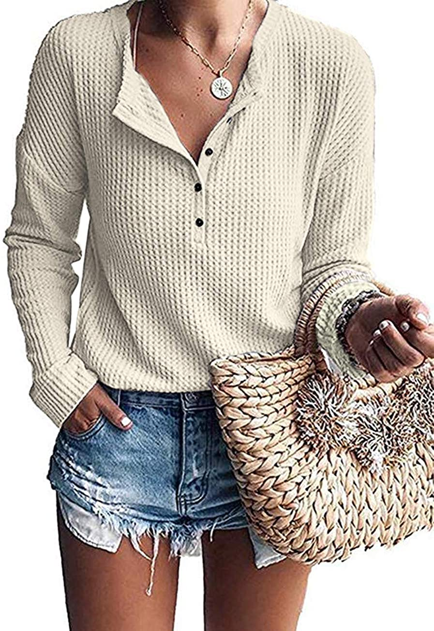 WNEEDU Women's Waffle Knit Tunic Tops Loose Long Sleeve Button Up V Neck Henley Shirts