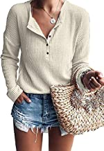 MOLERANI Womens Waffle Knit Tunic Tops Loose Long Sleeve Button Up V Neck Henley Shirts