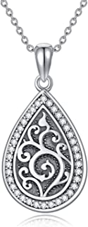 HUKKUN Cremation Jewelry for Ashes Sterling Silver Urn Necklaces for Ash for Women or Men Angel Wing Life Cricle Drop Keep...