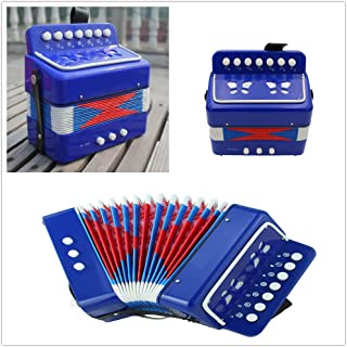 Elloapic Children's Kids' Accordion Keyboard Instruments with 7 Treble Keys, 3 Air Valves, Hand Strap, Early Learning Eduction Instrument Music Toy Blue