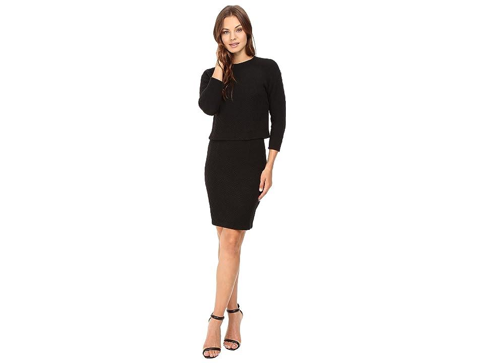 Donna Morgan Drop Shoulder 3/4 Sleeve Top (Black) Women