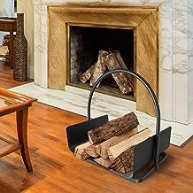 Traditional Vintage Black Steel Log Holder Cradle Basket, Decorative Fireside Wood Burner Storage Stand with Carry Handle - 41X53X30cm