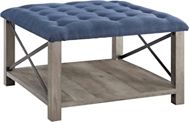 Walker Edison Furniture Company Tufted Upholstered Fabric Ottoman Stool Living Room Foot Rest Coffee Table Storage Shelf, 30 Inch, Blue