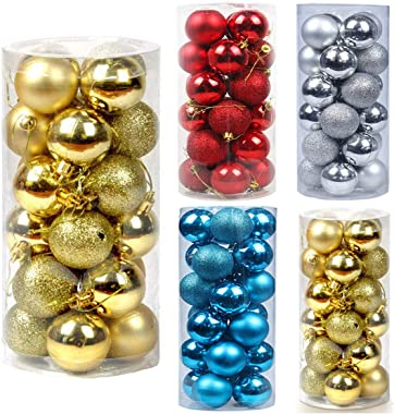 """TWBB Christmas Balls Ornaments for Xmas Tree - Shatterproof Christmas Tree Decorations Large Hanging Ball 1.57"""" x 24 Pack (Gold)"""