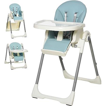 HOMCOM Trona para Bebé Evolutiva Ajustable y Plegable con Doble Bandeja Trona Portátil de +6 Meses Reclinable con 2 Ruedas y Frenos 55x80x104 cm Azul