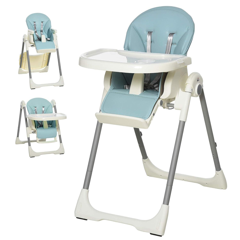 HOMCOM Baby Hochstuhl Babystuhl mit Fu/ßst/ütze Kinderhochstuhl Tisch mit abnehmbarem Tablett h/öhenverstellbar und klappbar f/ür 6-36 Monate PP Stahl Blau 55 x 80 x 104 cm