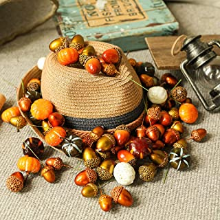 Luyue 72pcs Artificial Mini Pumpkins Decoration Halloween Pumpkin Fake Acorns Harvest Thanksgiving Kit Home Decor Set Vege...