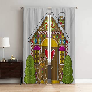 Mozenou Boys Room Decor Curtain Living Room Gingerbread Man,Cute Gingerbread House with Colorful Candies Cookie Man Graphic Figure,Multicolor W84 x L96 Inch