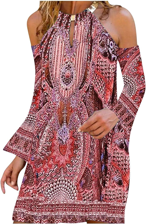 Summer Dresses for Women Metal Hanging Neck Sleeveless Mini Dresses Casual Boho Floral Off Shoulder Beach Sundress