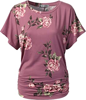 Womens Short Sleeve Dolman Drape Top Shirts (Plus