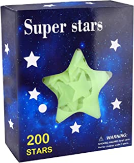 MUCH 200 Pcs Ultra Glow in The Dark Stars 3 Size Star & Bonus Moon Luminous Stickers for Kids Bedroom Easy to Remove (Adhe...