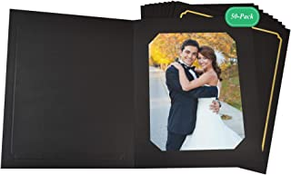 Golden State Art, Acid-Free Photo Folders for 8x10 or 6x8 Picture,Pack of 50 Black with Gold Lining Cardboard/Paper Frames,Great for Portraits and Photos,Special Events: Graduation,Wedding