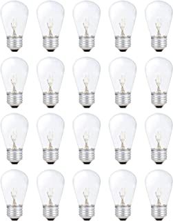 Simba Lighting String Light Outdoor S14 Replacement Bulb 11W E26 Medium Screw Base for Decorating Patio, Café, Pergola, Porch, Clear Glass, 11 Watt 110V 120V, 2700K Warm White, Dimmable, 20 Pack
