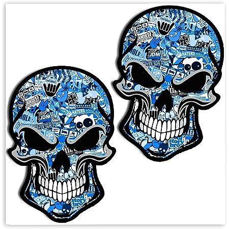 Skinoeu 2 Stück Vinyl Aufkleber Autoaufkleber Bomb Stickers Skull Schädel Totenkopf Blau Horror Stickers Auto Moto Motorrad Fahrrad Helm Fenster Tür Tuning B 50 Auto