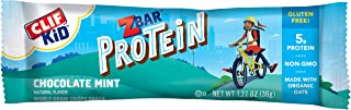 CLIF KID ZBAR - Protein Granola Bars - Chocolate Mint Flavor (1.27 Ounce Gluten Free Bars, Lunch Box Snacks, 5 count)
