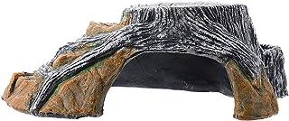 Balacoo Reptile Hideout Resin Tree Stump Turtle Basking Platform Aquarium Accessories Fish Tank Amphibian Habitat Decor(Si...