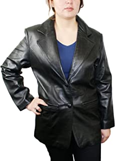 Women genuine soft lamb leather 2 buttons closure sports black blazer Jacket