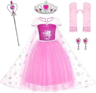 فستان الاميرات من بارتي شيلي للفتيات لحفلات عيد الميلاد مع تاج، وصولجان، وقفازات، للفتيات من 3 الى 12 سنة