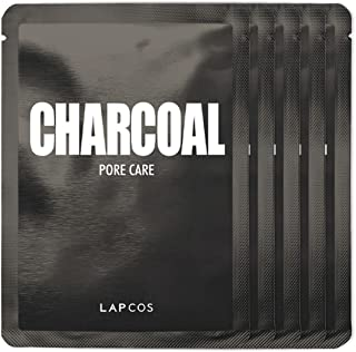 Best LAPCOS Charcoal Sheet Mask, Daily Face Mask with Salicylic Acid and Tea Tree Oil to Detoxify and Tighten Skin, Korean Beauty Favorite, 5-Pack Review