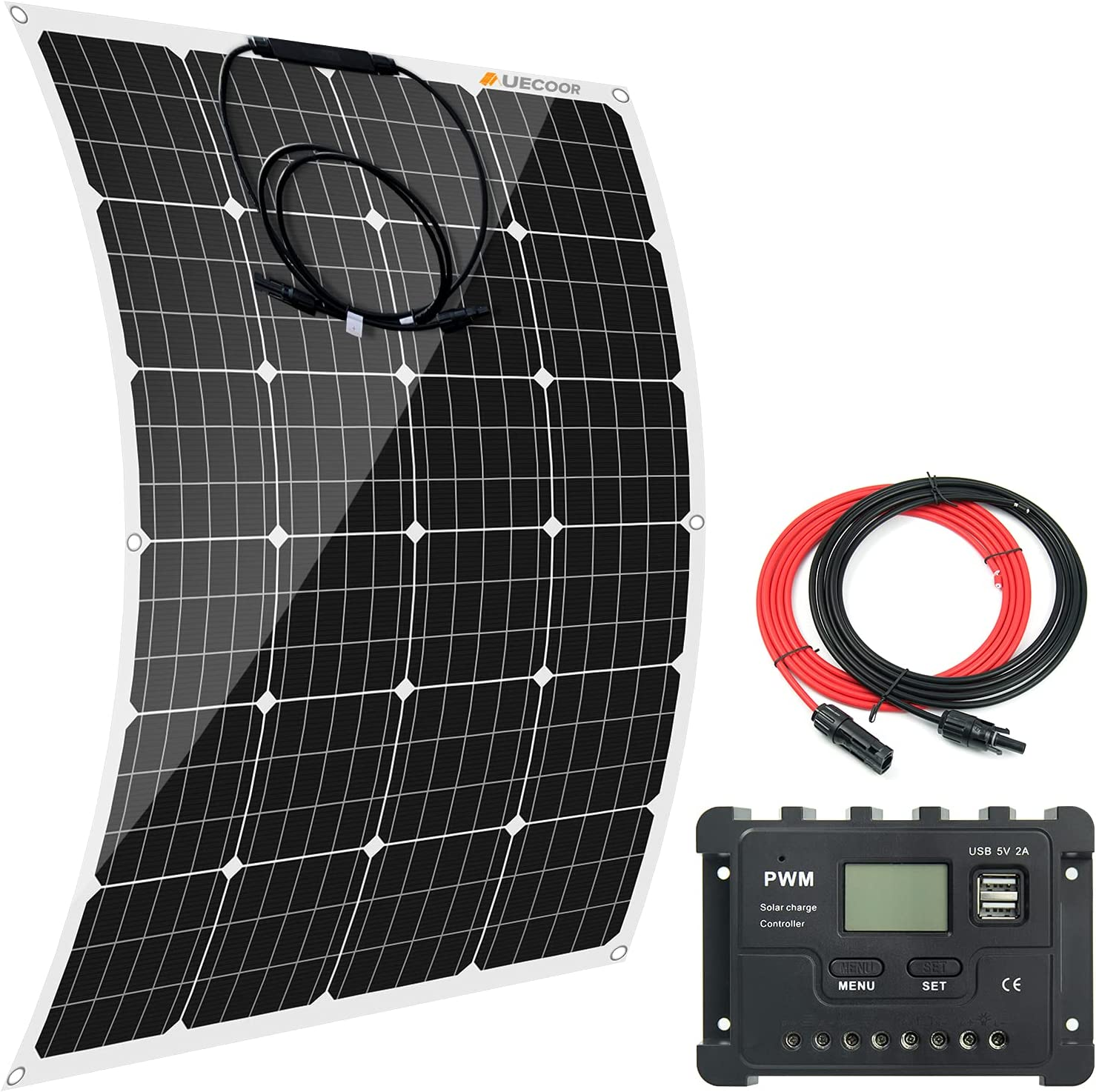 AUECOOR 120 Ranking TOP9 Watts Flexible Solar Shipping included with Monocrystalline Panel LCD