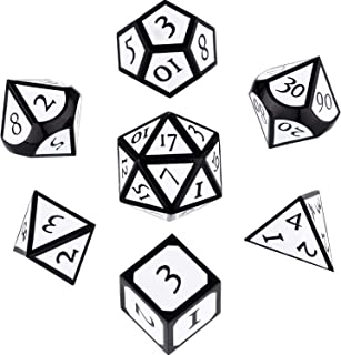 7 Pieces Metal Dices Set DND Game Polyhedral Solid Metal D&D Dice Set with Storage Bag and Zinc Alloy with Enamel for Role Playing Game Dungeons and Dragons (Black-White)
