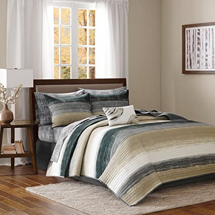 Madison Park Saben Complete Reversible Coverlet and Cotton Sheet Set Taupe Queen