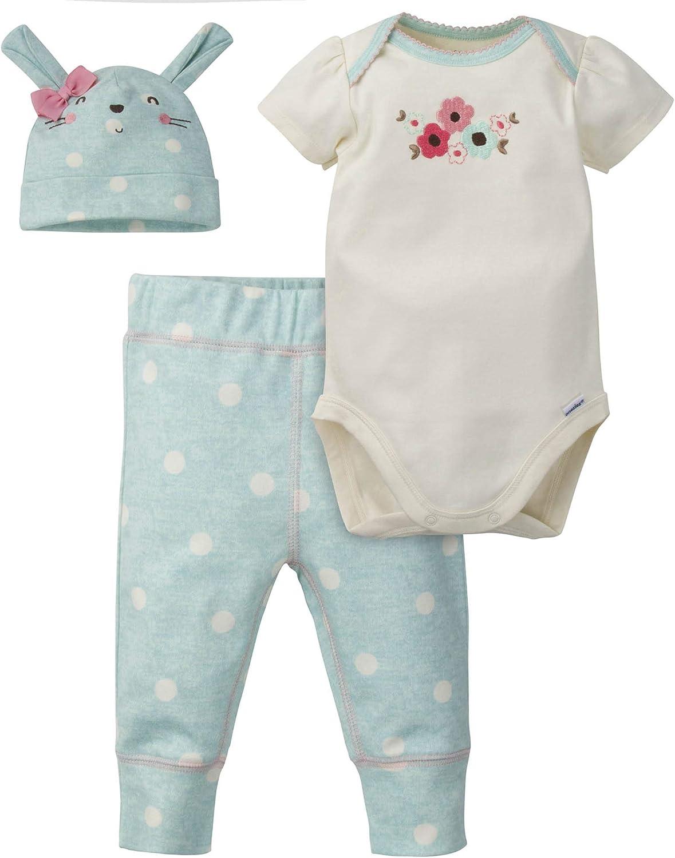 Pant and Cap Set GERBER Baby Girls 3-Piece Bodysuit
