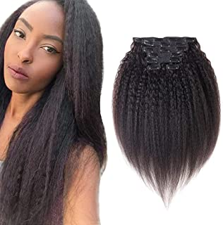 viviaBella Kinky Yaki Straight Clip in Human Hair Extensions 14 Inches Natural Color Double Weft Brazilian Unprocessed Virgin Hair 7 Peices/set 16 Clips for Girls Beauty (70g 14