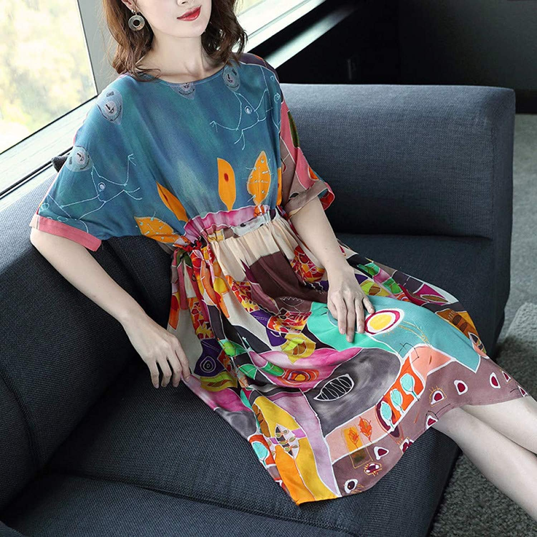 Cxlyq Dresses Summer Dress Fashion Print Raglan Sleeves Waist Long Section A Word Skirt