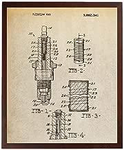 Turnip Designs Spark Plug Art Car Patent Prints Blueprint Art Automotive Decor Engine Art Auto Shop Poster TDP1113