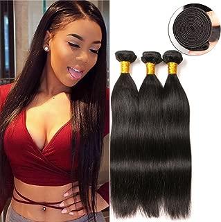 Straight Weave Human Hair Peruvian Brazilian Virgin Hair Weave 3 Bundles Unprocessed Virgin Remy Remi Human Hair Extension Weave Weft Cheap (20 22 24 Inches)