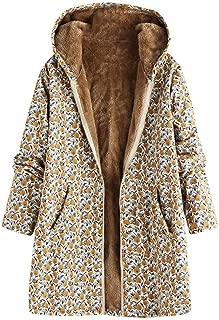 Women's Vintage Print Plus Size Hooded Coat,Autumn Winter Warm Faux Fleece Pockets Zipper Long Sleeve Jackets Outwear Daorokanduhp