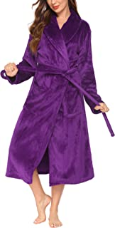 Ekouaer Robe Women Thick Bathrobe Warm Sleepwear Soft Lounge Robe Fleece Shower Robes Classic...