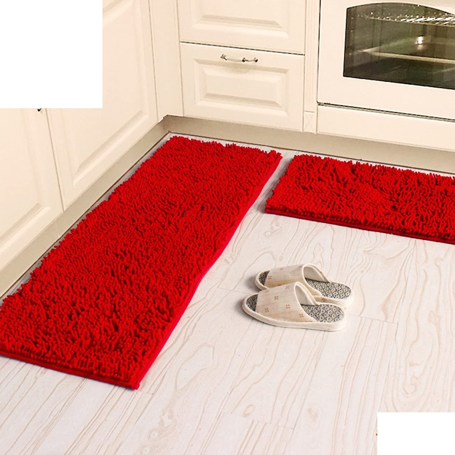 Chenille mat Doormat [Living Room] Bedroom Kitchen Indoor mats Hall Non-Slip Suction pratunam pad Door mats-A-J 40x60cm(16x24inch)